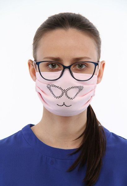 Reusable double-layer cotton face mask heart whit sequins, light pink
